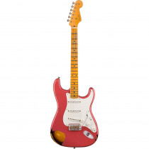 FENDER 1955 STRATOCASTER HEAVY RELIC MN AGED CORAL PINK OVER CHOCOLATE 2COLOR SUNBURST