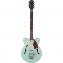 GRETSCH G2655T P90 STREAMLINER CENTER BLOCK JR. DOUBLE CUT W/BIGSBY TWO TONE MINT METALLIC AND MAHOGANY STAIN