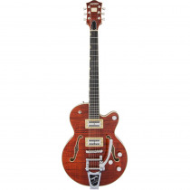 GRETSCH G6659TFM PLAYER EDITION BROADKASTER JR CENTER BLOCK SINGLE CUT W/STRING THRU BIGSBY BOURBON STAIN