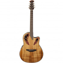 OVATION CELEBRITY ELITE PLUS CE44P FIGURED KOA MID DEPTH CUTAWAY